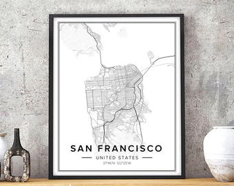 Elegant San Francisco Map, San Francisco Print, San Francisco Art, San Francisco  Poster, Sf Map, San Francisco Wall Art, Map Of San Francisco, Pdf