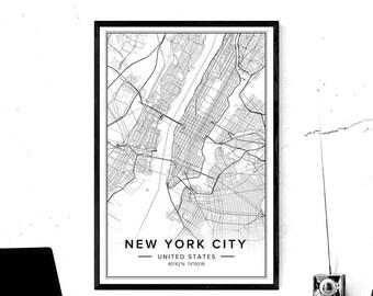 New York City Map Etsy - New york city map wall art