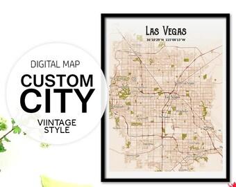 Custom Vintage Maps, Custom Vintage Print, Vintage City Map, Vintage Map Print, Retro Map, City Map Print, City Map Art, Map Art Print, Pdf