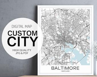 Custom City Prints, Custom City Art, Custom Map Printable, Custom Map Poster, City Map Print Customize, City Map Printable, City Map Poster