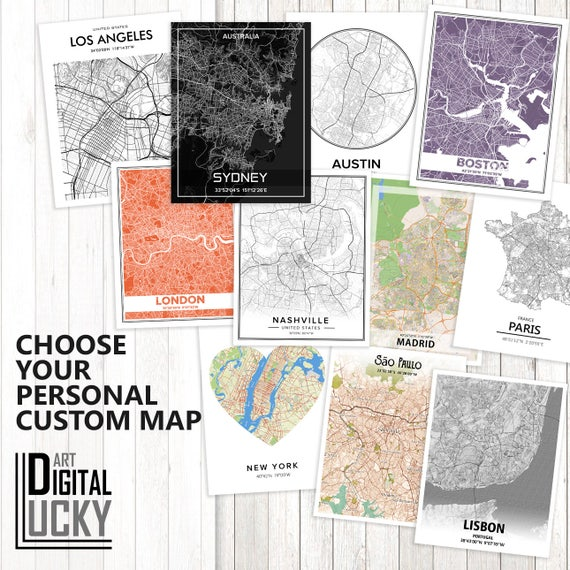 Commerce City Colorado Map Custom city map Gift For Couple Commerce City Print Commerce City Poster Personalized Wedding Map Art