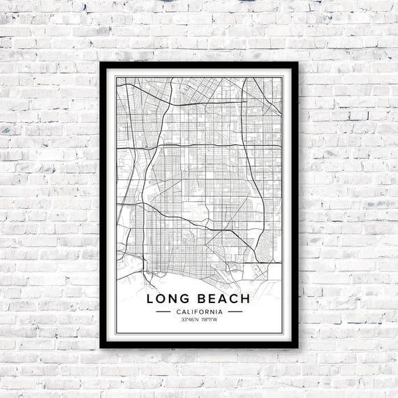 Long Beach Ca Map, Long Beach Ca Wall Art, Long Beach Art, Long Beach  Print, Long Beach Poster, Digital Download Map, Digital Map Print, Pdf