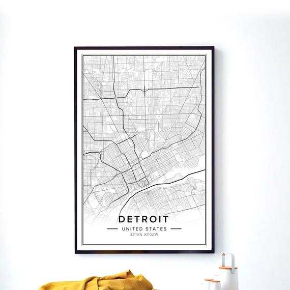 Detroit Art Detroit City Map Detroit Print Detroit Poster | Etsy