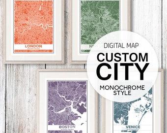 Custom Print Map, Color Map, Custom Map Print, Custom Map Art, Custom City Maps, City Art, City Map Print, City Map Printable, Jpg, Pdf Map