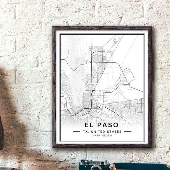 El Paso Texas Wall Art El Paso Tx Map El Paso Poster El | Etsy