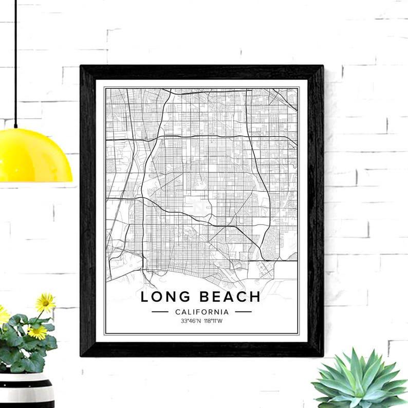 Long Beach Ca Map Long Beach Ca Wall Art Long Beach Art | Etsy