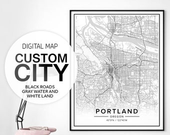 City Map Print, Custom Map Gift, City Map Custom, City Map Wall Decor, Cities Wall Art, Black And White Map, Personalized City Map, Jpg Pdf