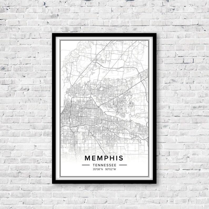 Memphis Map Memphis Print Memphis Poster Memphis Tn Wall | Etsy