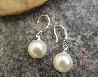 10mm pearl earrings pearl dangle drop earrings faux pearl vegan pearl bridal earrings bridal pearl earrings pearl jewelry bridal gifts.