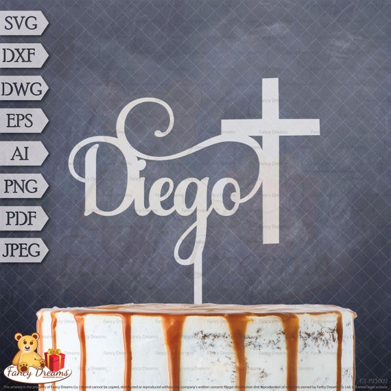 Cross Name Baptism Personalised Laser Cut Template Cake Topper Svg Dxf Dwg Eps Ai Png Pdf Jpeg Instant Download