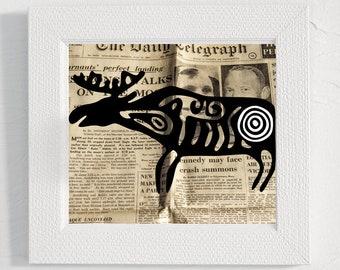 Deer vintage photography page Digital vintage art print Nursery print forest animal Illustration clipart Animal decor Printable wall decor