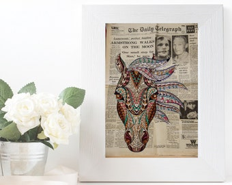Horse vintage print digital SVG EPS Vintage photography page Horse Illustration Nursery print Art clipart Animal decor Printable wall decor