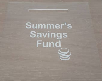 REPLACEMENT frame Ribba. Money Box slot. Change savings goal. Money savings. IKea Ribba front.With/without vinyl writing/images