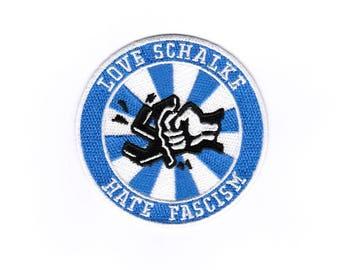 "Patch, patch Gelsenkirchen, Schalke badge, iron on sew ""love Schalke - hate fascism"""