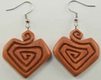 Carved Heart Earrings Hooks, Dangling