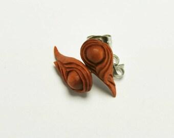 Soft Flame Stirrup Earrings Stud Loop Posts - Sabo Wood