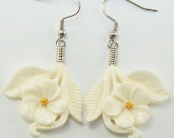 White Plumeria Earrings Hooks, Dangling - Bone