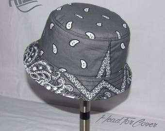 116691ca49211 Handmade denim zipped pocket bucket hat