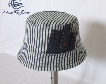 95f326979fba7 Handmade striped denim bucket hat.