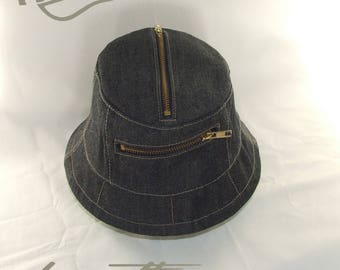 3a25086b6d55f Handmade denim zipped pocket bucket hat