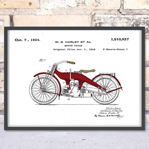 Wall Art Print w// Optional Frame Harley Davidson Springer Suspension Patent
