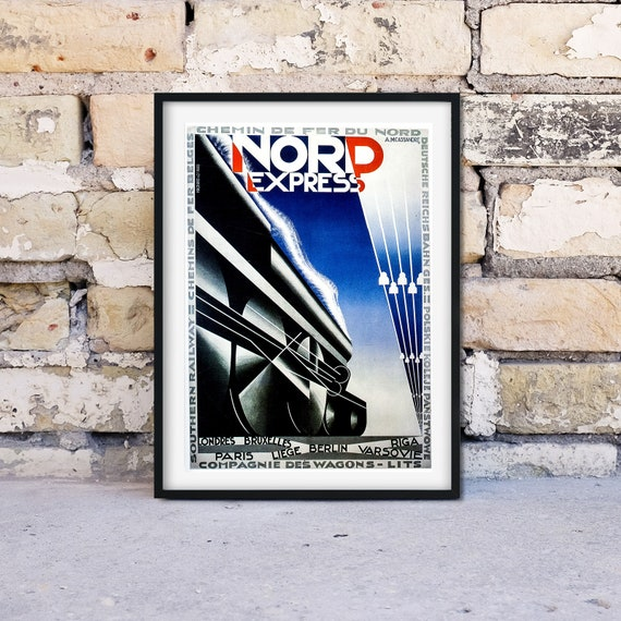 Vintage Southern Rail Nord Express to Europe Railway Poster A4//A3//A2//A1 Print