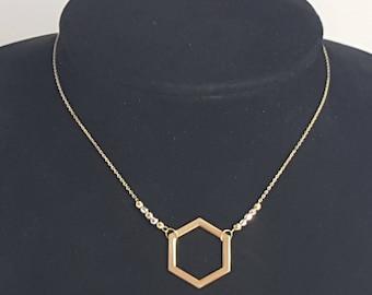 18k Yellow Solid Gold Hexagon Pendant Chain Necklace, Yellow White & Rose Gold Diamond Cut Bead, Geometric Pendant, Fine Jewelry
