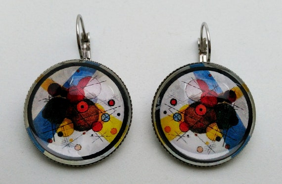 Unique Earrings Fancy Round Glass Tile Earrings Abstract Painted Coffee Filter Earrings Handmade Decorative Antique Brass Tray