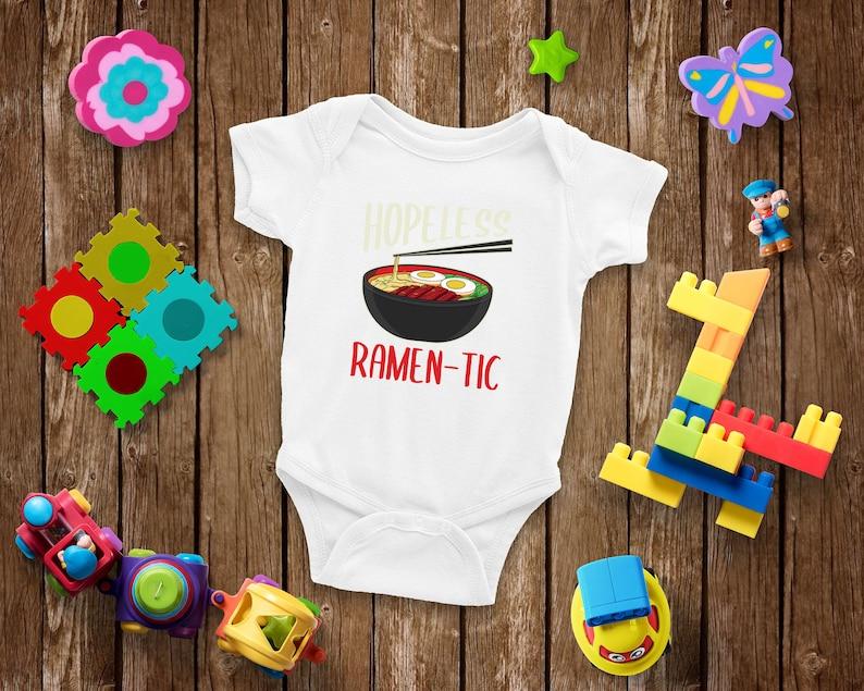 Super Cute Hopeless Raman-Tic Baby Bodysuit Gifts for Newborn Baby Shower Unisex Boys and Girls Baby