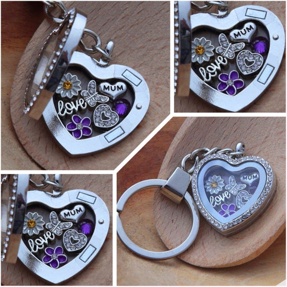 Personalised heart locket keyring gift for mum sister nan Birthday Xmas gifts 7