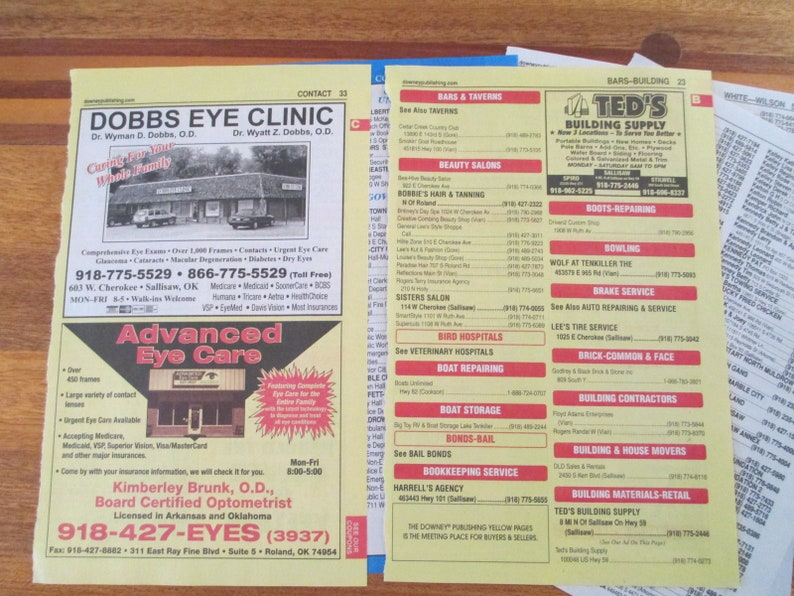 Card Supply  Phone Book Pages Random Set of 5 Pages Paper Ephemera  Junk  Journal, Journals, Planners, Tags, Scrapbook Media