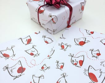Robin Print Christmas Wrapping Paper