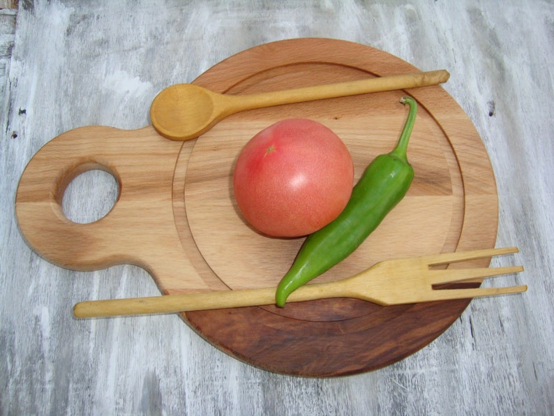 an antique wood for cutting cheese or meat cutting board-wooden spoon primitive wood cutting board wooden fork