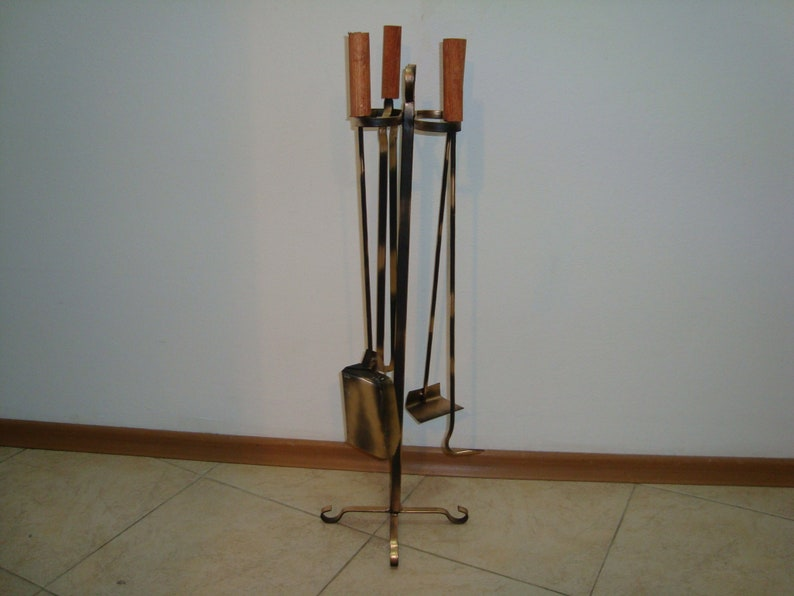 Hand Forged Wrought Iron Fireplace Tool Set Etsy