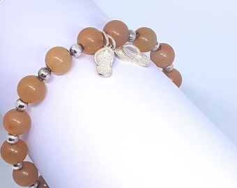 Orange Aventurine & Sterling Silver Flip Flop Charm Stretch Bracelet