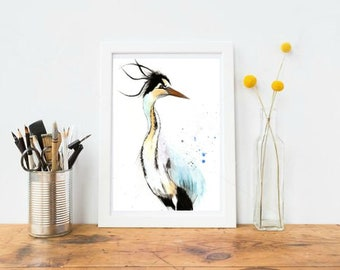 A4 Blue Heron Watercolour Print
