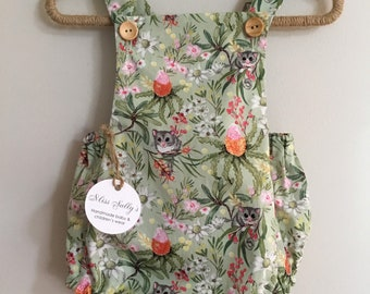 Baby girls romper with cute possums