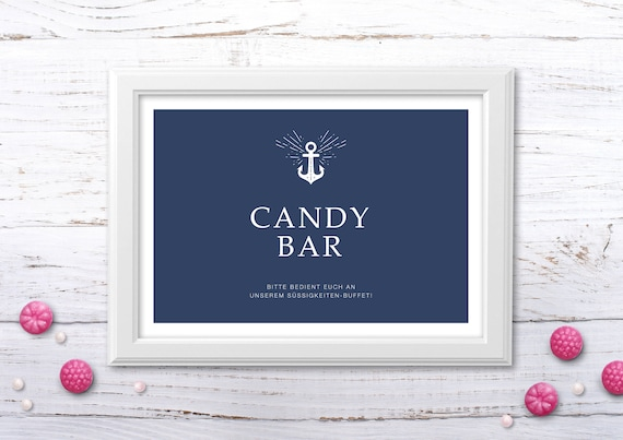 candybar schild zum selbstausdrucken etsy. Black Bedroom Furniture Sets. Home Design Ideas