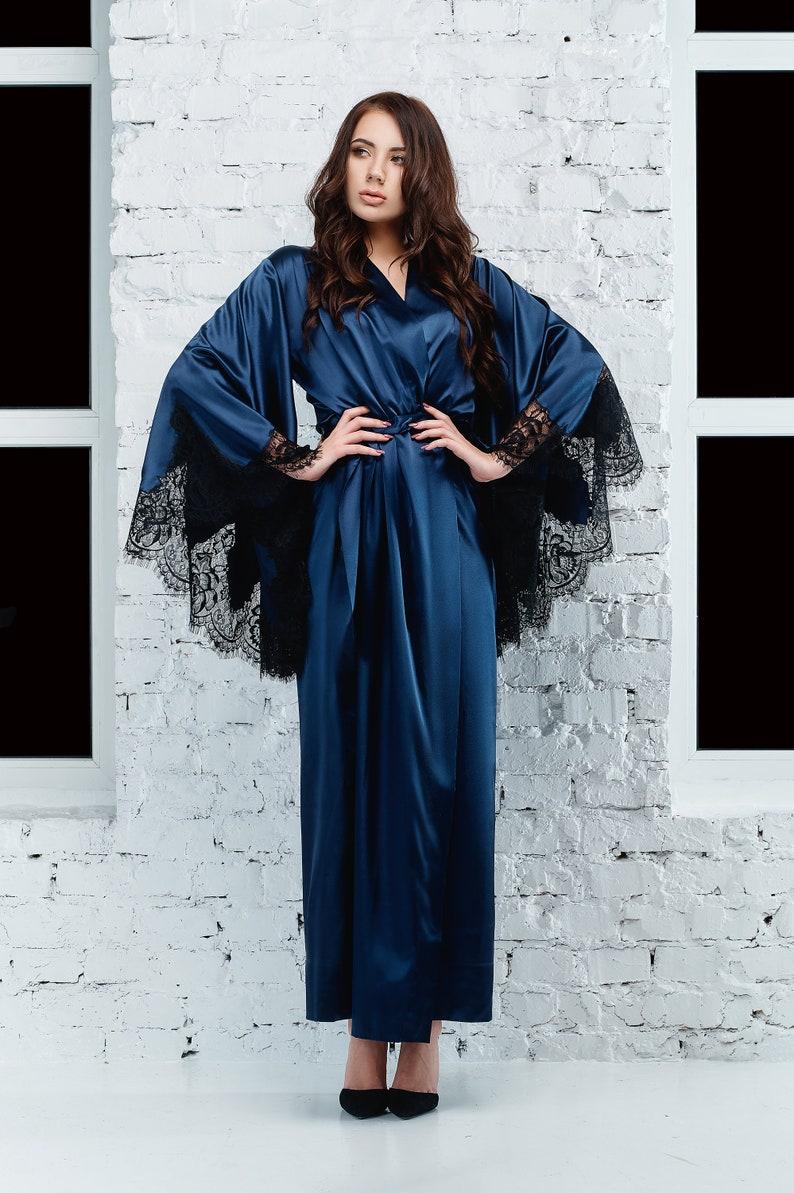 7f10f79b73bb Kimono Long Satin Robe Kimono Robe Long Floor Length Robe