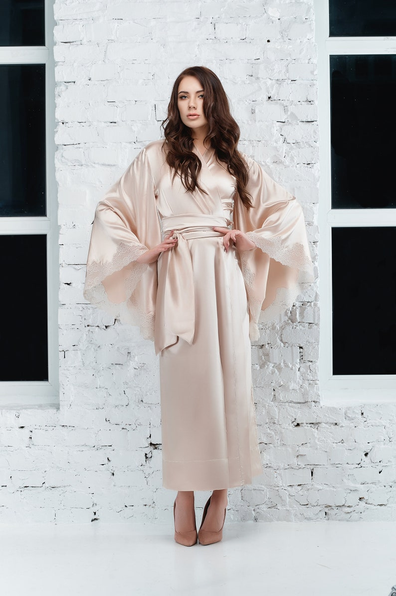 9478d15a61 Long Satin Robe Beige Robe Silk Kimono Women s Robe