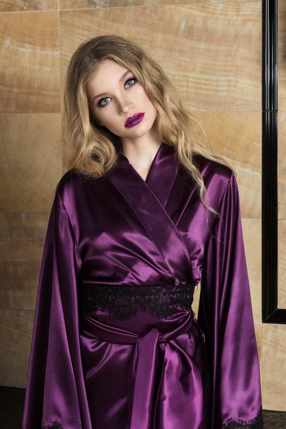 Satin Nightgown Purple Nightgowns Bridesmade Glamour Robe Robe Lace Silk Kimono Robe Robe Robe Robe Womens Womens Robe Silk Robe dq1xwR6d