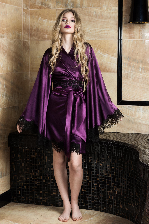 ddca5c55fbc5 Silk Satin Robe Purple Robe Kimono Robe Silk Robe. Lace