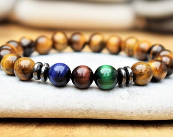 mens beaded bracelet tigers eye bracelet red blue green tigers eye jewelry for men protection bracelet mens gift for men gift for boyfriend