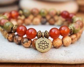 lotus bracelet wrist mala bracelet healing crystal bracelet lotus mala jasper bracelet yoga bead bracelet medetation bracelet carnelian
