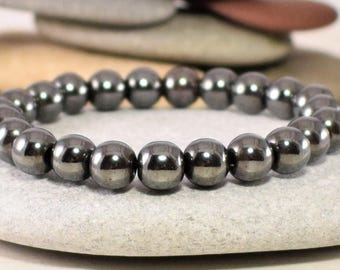 Hematite bracelet stone mind healing stone focus willpower optimism trust balance stability protection healing for all chakras root chakra