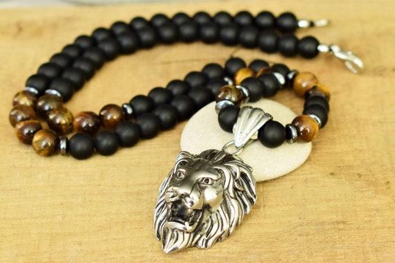 Gift for Men Mens Stainless Steel Pendant Necklace Mens Tiger Eye Necklace Mens Beaded Necklace Mens Onyx Lion Necklace