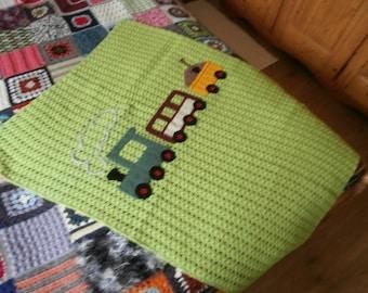 Baby blanket -train - crocheted