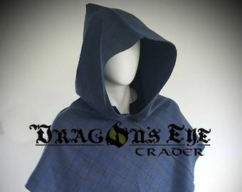 Viking Blue, Midnight Blue & Bog Green Brushed Cotton Viking/Medieval Hood