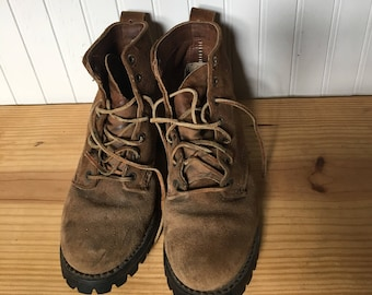 Brown suede leather boots