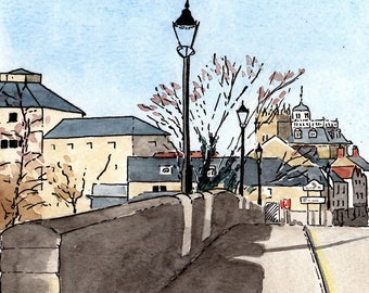 Abingdon print, River Thames, Abingdon Bridge, Old Gaol, County Hall, mounted print, pen and ink, Oxfordshire, Giantmousie